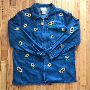 VTG Denim Zip Up Jacket with Sunflower Embroidery